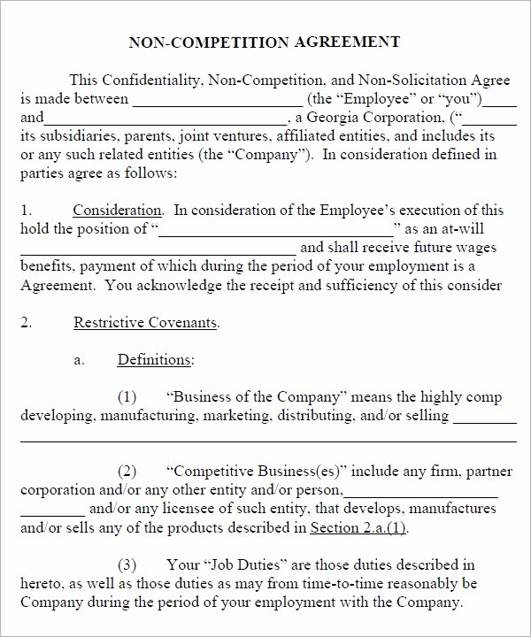 Non Compete Agreement Template Word Beautiful Free 13 Sample Non Pete Agreement Templates In Google