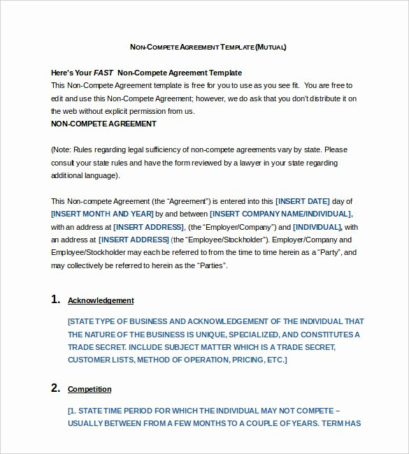 Non Compete Agreement Template Word Best Of 13 Non Pete Agreement Templates Docs Pdf Word