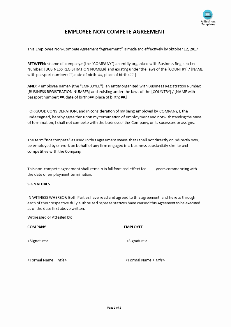 Non Compete Agreement Template Word Best Of Employee Non Pete Agreement