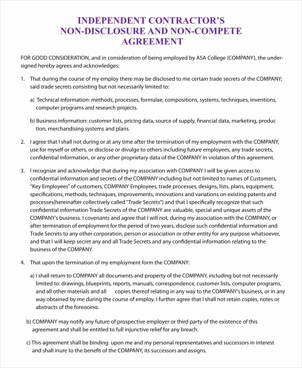 Non Compete Agreement Template Word Best Of Non Pete Agreement Template 12 Free Word Pdf format