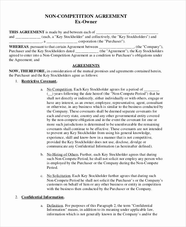 Non Compete Agreement Template Word Elegant 15 Simple Non Pete Agreement Templates Free Word