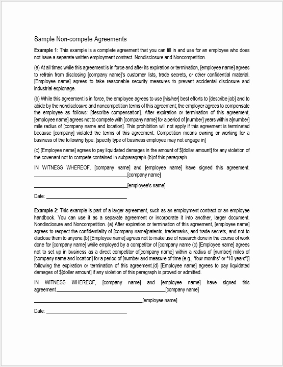 Non Compete Agreement Template Word Fresh 37 Free Non Pete Agreement Templates Ms Word