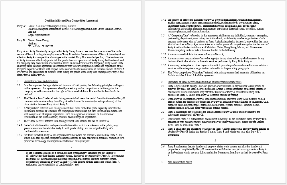 Non Compete Agreement Template Word Inspirational 37 Free Non Pete Agreement Templates Ms Word