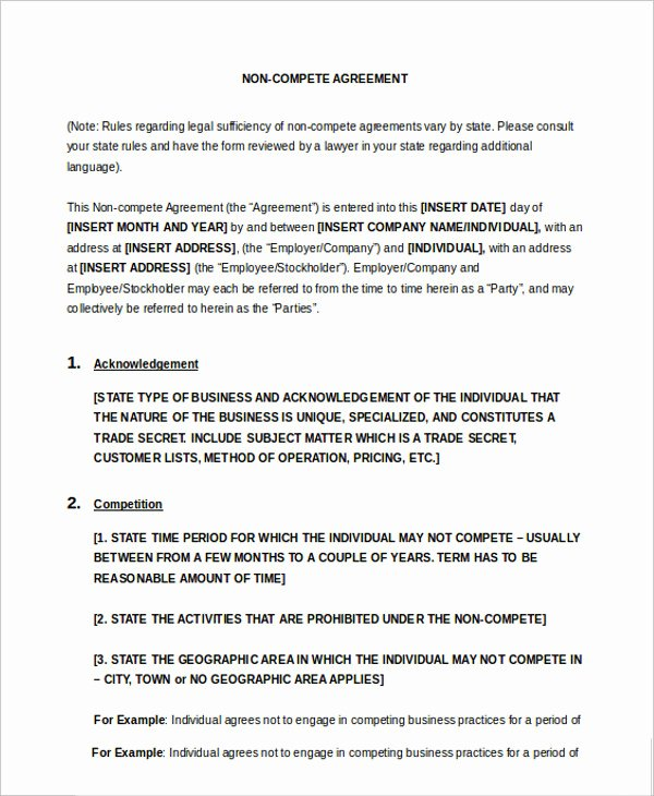 Non Compete Agreement Template Word Lovely 10 Non Pete Agreement Templates Pdf Word