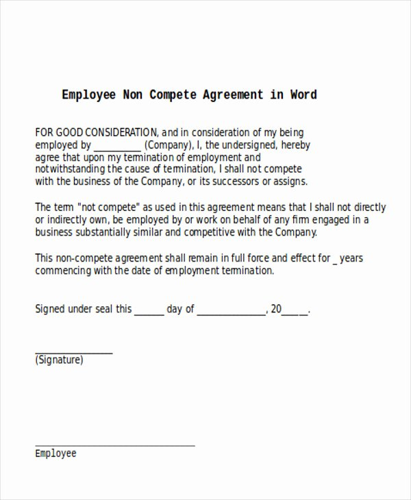 Non Compete Agreement Template Word Lovely 14 Sample Word Non Pete Agreements