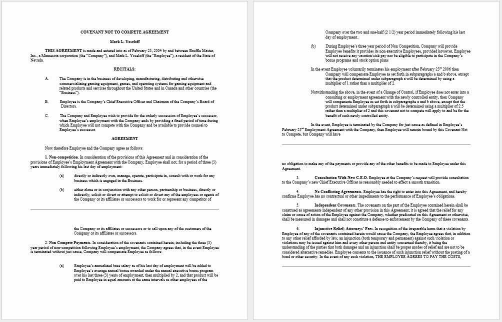 Non Compete Agreement Template Word Lovely 37 Free Non Pete Agreement Templates Ms Word