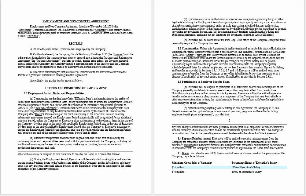 Non Compete Agreement Template Word Luxury 37 Free Non Pete Agreement Templates Ms Word