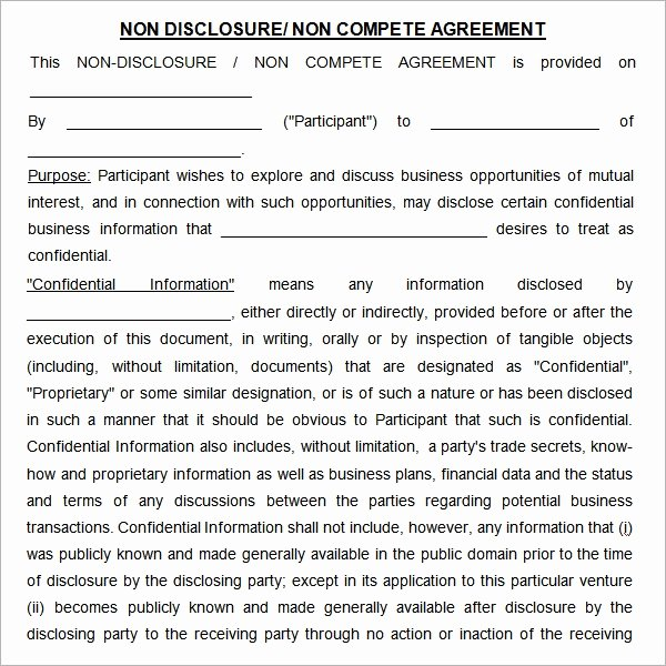 Non Compete Agreement Template Word Luxury Free 13 Sample Non Pete Agreement Templates In Google