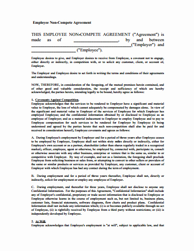Non Compete Agreement Template Word Luxury Non Pete Agreement Free Download Create Edit Fill