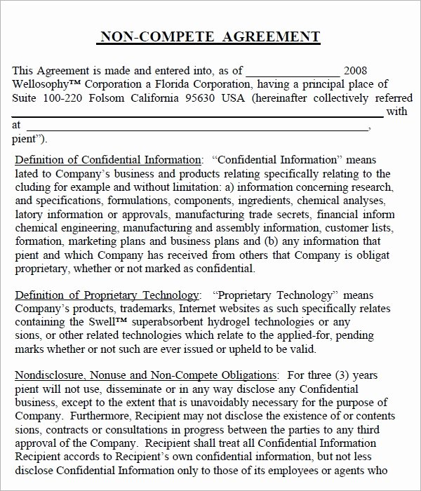Non Compete Agreement Template Word New Non Pete Agreement 7 Free Pdf Doc Download