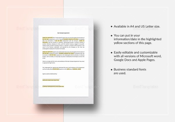 Non Compete Agreement Template Word New Vendor Non Pete Agreement Template 11 Free Word Pdf
