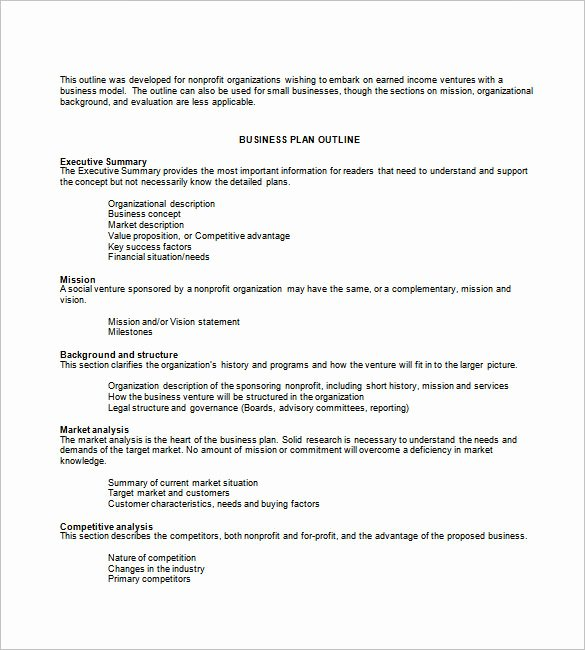 Non Profit Business Plan Template Lovely Business Plan Template 74 Free Word Excel Pdf Psd