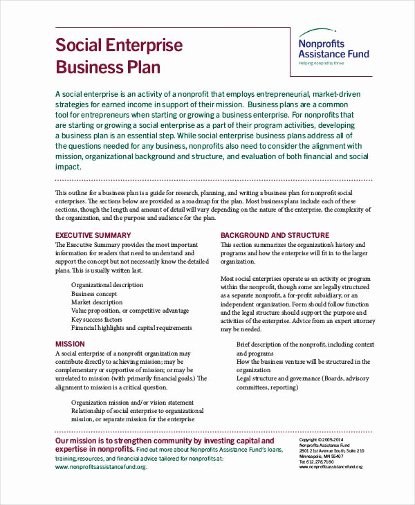 Non Profit Business Plan Template Lovely Non Profit Business Plan 13 Pdf Word Documents