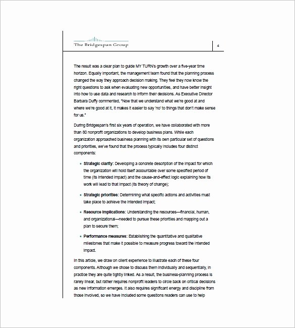 Non Profit Business Plan Template New Non Profit Business Plan Template 8 Word Excel Pdf