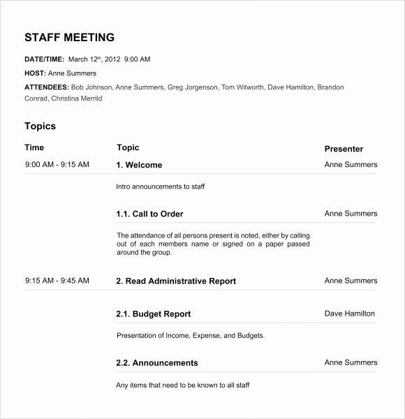 Nonprofit Board Meeting Agenda Template Awesome Free 11 Board Meeting Agenda Templates In Free Samples