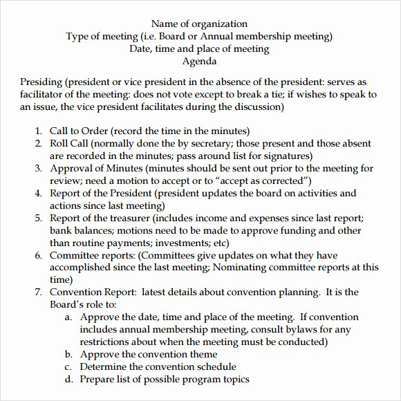 Nonprofit Board Meeting Agenda Template Awesome Free 11 Board Meeting Agenda Templates In Free Samples
