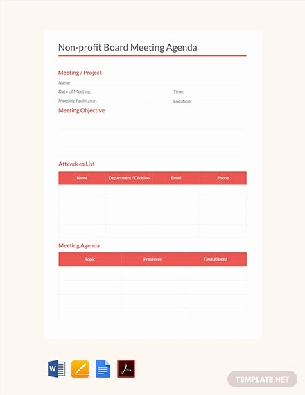 Nonprofit Board Meeting Agenda Template Awesome Free Workshop Agenda Template Download 88 Meeting