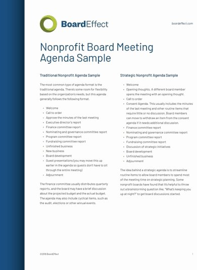 Nonprofit Board Meeting Agenda Template Beautiful 10 Fundraising Meeting Agenda Templates Pdf Word