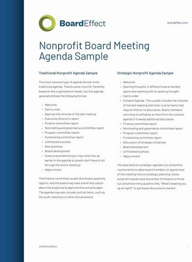 Nonprofit Board Meeting Agenda Template Beautiful 10 Fundraising Meeting Agenda Templates Pdf Word