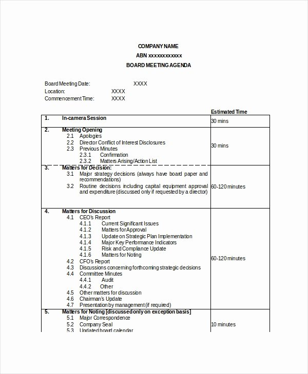 Nonprofit Board Meeting Agenda Template Beautiful Board Meeting Agenda Template – 10 Free Word Pdf