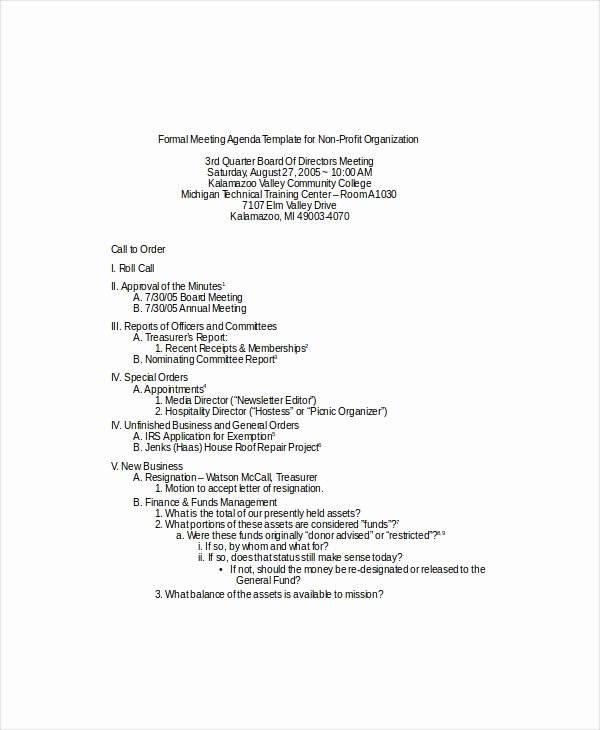 Nonprofit Board Meeting Agenda Template Best Of 9 formal Meeting Agenda Templates Pdf Doc