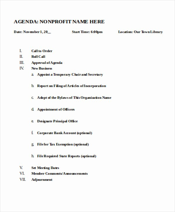 Nonprofit Board Meeting Agenda Template Best Of Nonprofit Agenda Templates 7 Free Sample Example