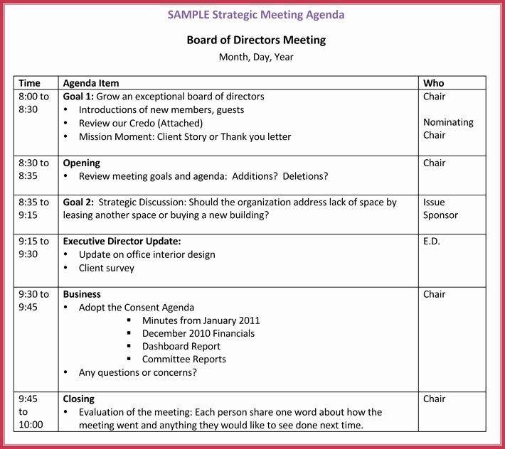 Nonprofit Board Meeting Agenda Template Elegant Board Meeting Agenda Template 10 Free Samples formats