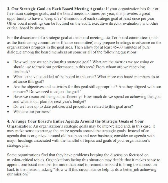 Nonprofit Board Meeting Agenda Template Elegant Free 11 Board Meeting Agenda Templates In Free Samples