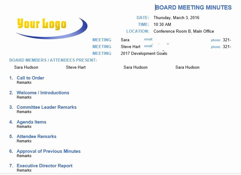 Nonprofit Board Meeting Agenda Template Fresh 13 Meeting Minutes Templates to Help You Ace Your