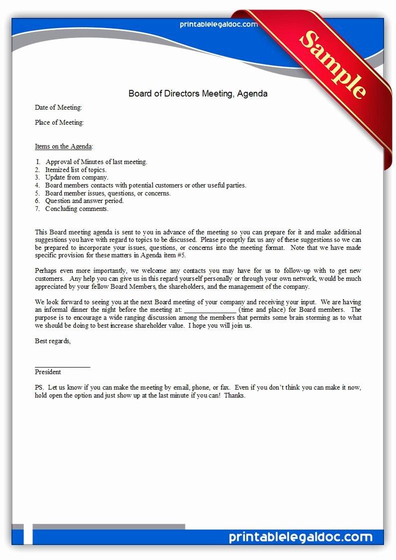 Nonprofit Board Meeting Agenda Template Fresh Free Printable Board Directors Meeting Agenda