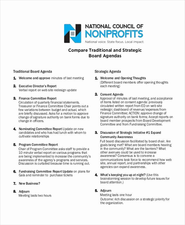 Nonprofit Board Meeting Agenda Template Lovely Free 6 Nonprofit Agenda Examples & Sample In Pdf