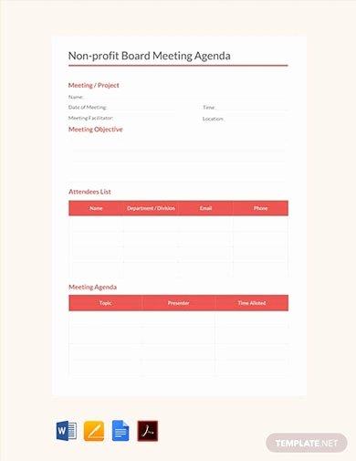Nonprofit Board Meeting Agenda Template Luxury 10 Fundraising Meeting Agenda Templates Pdf Word
