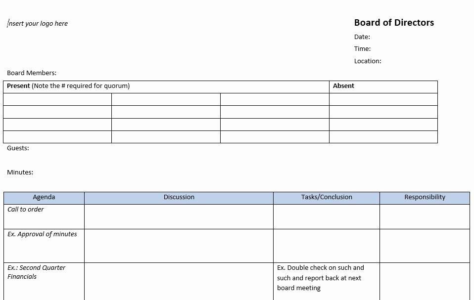 Nonprofit Board Meeting Agenda Template Luxury 13 Meeting Minutes Templates to Help You Ace Your