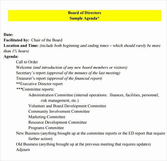 Nonprofit Board Meeting Agenda Template Luxury Board Meeting Agenda 9 Free Samples Examples format