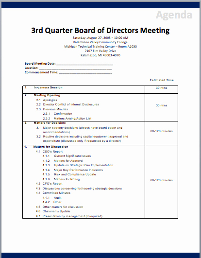 Nonprofit Board Meeting Agenda Template Luxury Board Of Directors Meeting Agenda Template