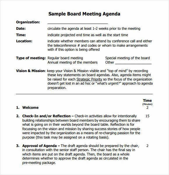 Nonprofit Board Meeting Agenda Template Luxury Free 11 Board Meeting Agenda Templates In Free Samples