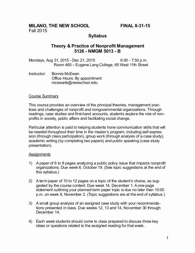 Nonprofit Business Plan Template Pdf New Course Syllabus Nonprofit Management Graduate Level