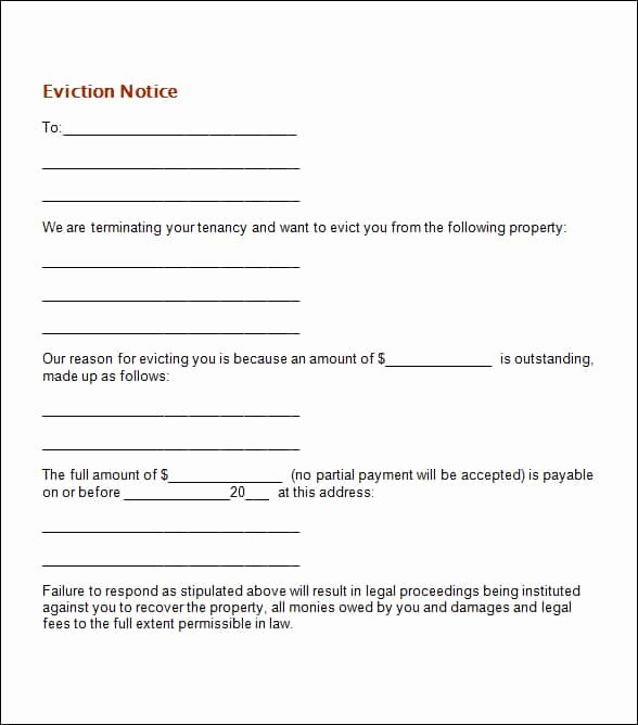 Notice Of Eviction Template Awesome 24 Free Eviction Notice Templates Excel Pdf formats