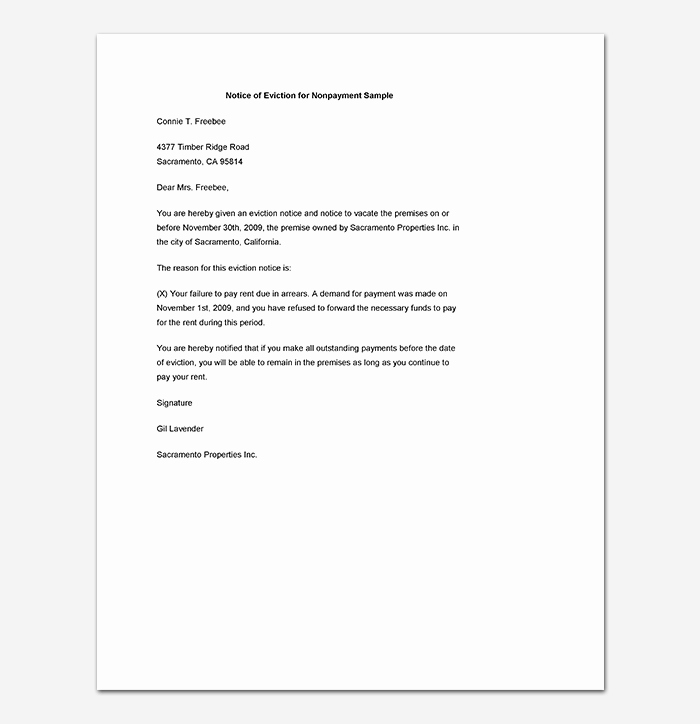 Notice Of Eviction Template Awesome Eviction Notice 24 Sample Letters & Templates