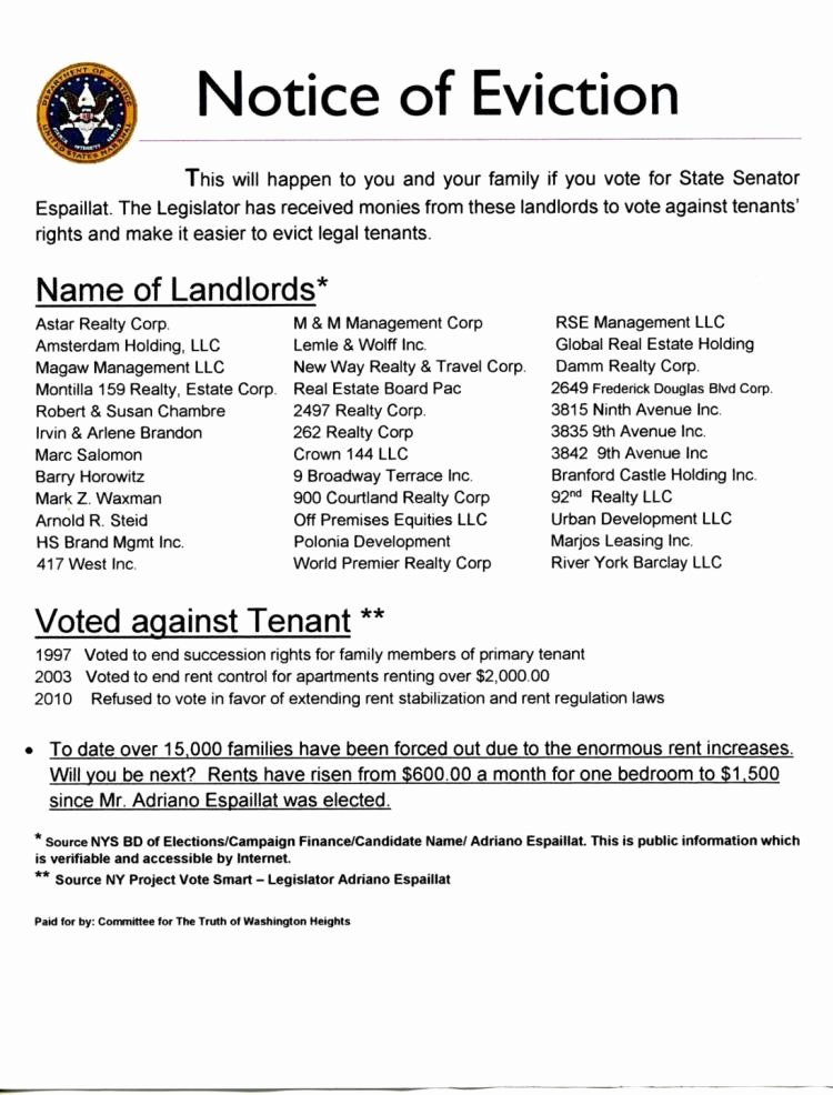 Notice Of Eviction Template Best Of Bronx Residents Call Notice Of Eviction Campaign