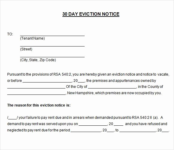 Notice to Vacate Template Elegant Printable Sample 30 Day Notice to Vacate Template form