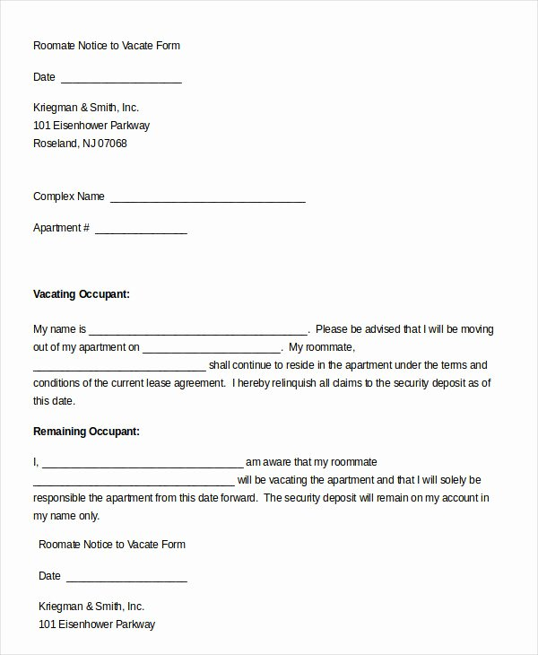 Notice to Vacate Template Fresh 5 Notice to Vacate form Free Download Templates Study
