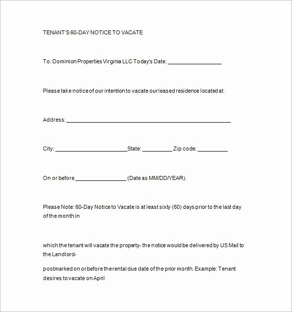 Notice to Vacate Template Inspirational Notice Templates 104 Free Word Pdf format Download