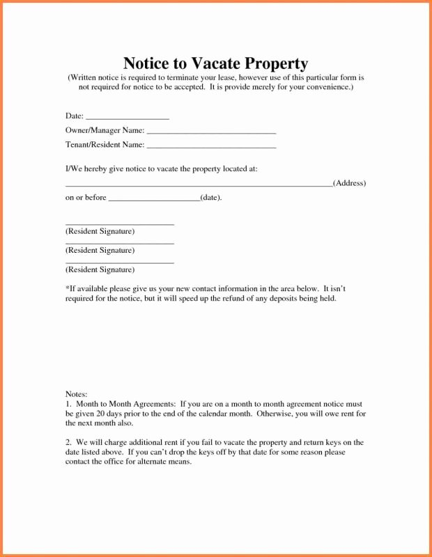 Notice to Vacate Template Lovely Landlord Notice to Vacate