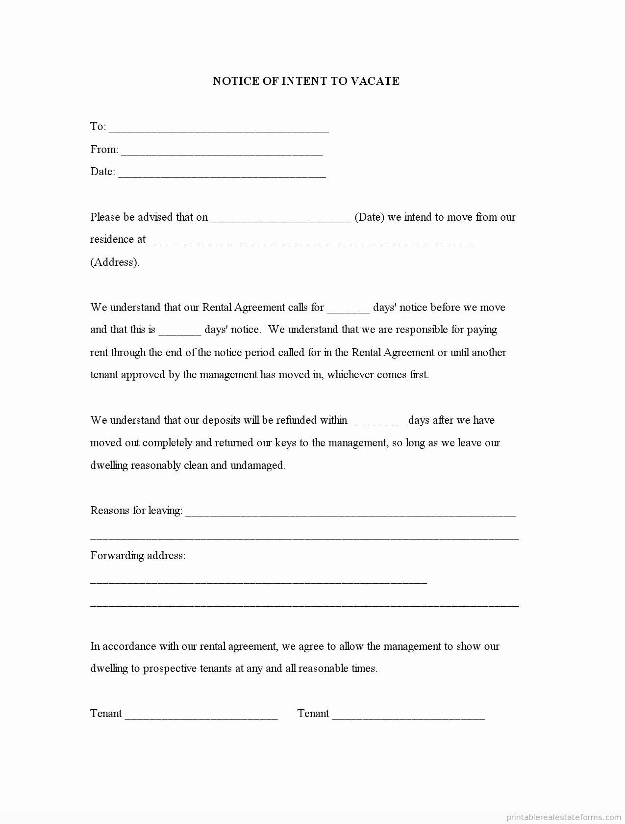 Notice to Vacate Template Unique Free Printable Notice Of Intent to Vacate form Sample