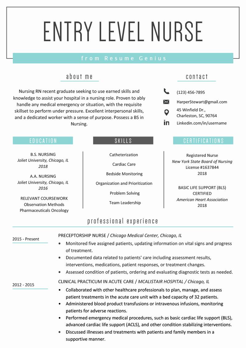 Nursing Resume Template Word Best Of Entry Level Nurse Resume Sample