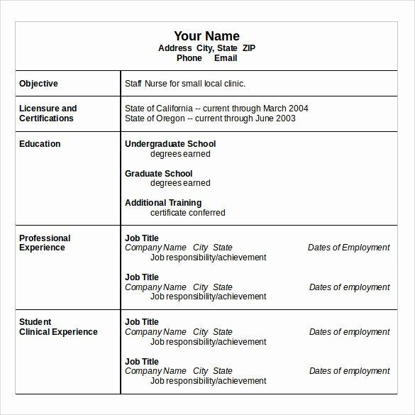 Nursing Resume Template Word Best Of Sample Nurse Resume 10 Download Free Documents In Word Pdf
