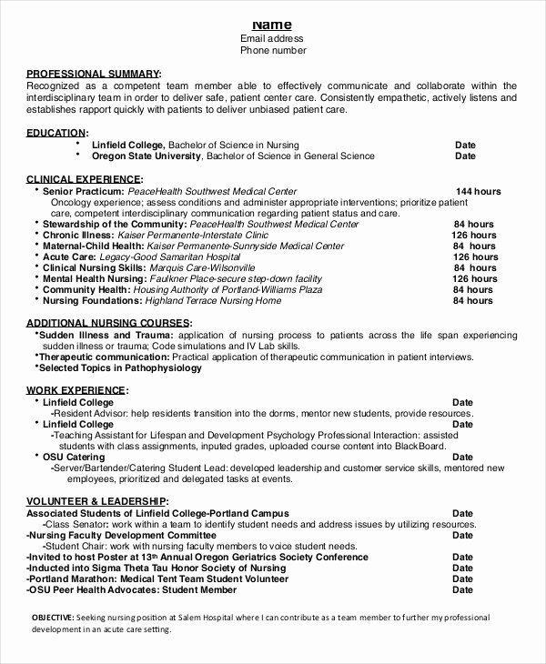 Nursing Resume Template Word Elegant Nursing Student Resume Example 10 Free Word Pdf