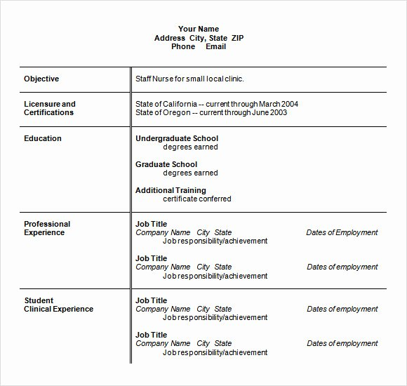 Nursing Resume Template Word Elegant Resume Objective Example Nursing Nursing Student Resume