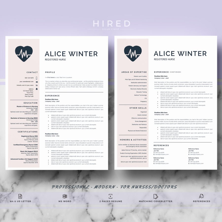 Nursing Resume Template Word Luxury Nurse Template Archivos Hired Design Studio